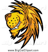 Big Cat Cartoon Vector Clipart of a Male Lion Grinning in Profile by Chromaco