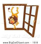 Big Cat Cartoon Vector Clipart of a Male Lion in an Open Window by Graphics RF