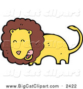 Big Cat Cartoon Vector Clipart of a Male Lion Licking His Lips by Lineartestpilot