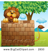Big Cat Cartoon Vector Clipart of a Male Lion Looking over a Brick Wall Under a Tree by Graphics RF