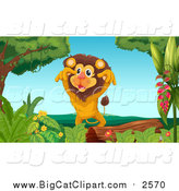 Big Cat Cartoon Vector Clipart of a Male Lion Lunging over a Log by Graphics RF