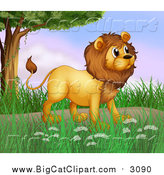 Big Cat Cartoon Vector Clipart of a Male Lion near a Tree by Graphics RF