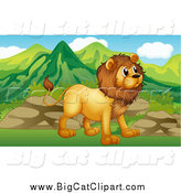 Big Cat Cartoon Vector Clipart of a Male Lion near Boulders and Mountains by Graphics RF
