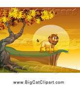 Big Cat Cartoon Vector Clipart of a Male Lion on a Cliff at Sunset by Graphics RF
