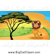 Big Cat Cartoon Vector Clipart of a Male Lion on a Path by a Tree at Sunset by Graphics RF