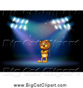 Big Cat Cartoon Vector Clipart of a Male Lion Performing in Spotlights on a Stage by Graphics RF