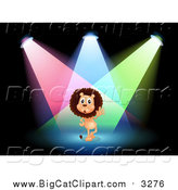 August 8th, 2015: Big Cat Cartoon Vector Clipart of a Male Lion Performing in Spotlights on a Stage by Graphics RF