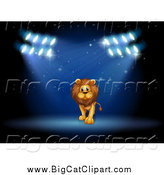 May 8th, 2015: Big Cat Cartoon Vector Clipart of a Male Lion Performing in Spotlights on a Stage by Graphics RF