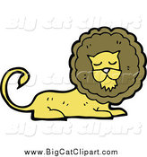 Big Cat Cartoon Vector Clipart of a Male Lion Resting by Lineartestpilot