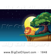 Big Cat Cartoon Vector Clipart of a Male Lion Resting on a Cliff at Night by Graphics RF