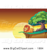 Big Cat Cartoon Vector Clipart of a Male Lion Resting on a Cliff at Sunset by Graphics RF