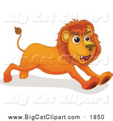 Big Cat Cartoon Vector Clipart of a Male Lion Running by Graphics RF