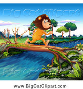 Big Cat Cartoon Vector Clipart of a Male Lion Running on a Log over a Stream by Graphics RF