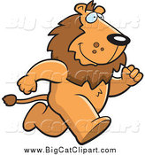 Big Cat Cartoon Vector Clipart of a Male Lion Running Upright on His Hind Legs by Cory Thoman