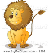 Big Cat Cartoon Vector Clipart of a Male Lion Sitting by Graphics RF