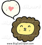 Big Cat Cartoon Vector Clipart of a Male Lion Thinking About Love by Lineartestpilot