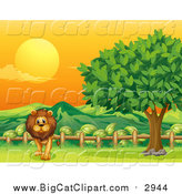 Big Cat Cartoon Vector Clipart of a Male Lion Walking by a Rail and Tree at Sunset by Graphics RF