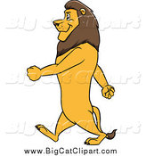 Big Cat Cartoon Vector Clipart of a Male Lion Walking Upright in Profile by Cartoon Solutions