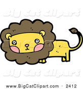 Big Cat Cartoon Vector Clipart of a Male Lion with Blushed Cheeks by Lineartestpilot