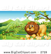 Big Cat Cartoon Vector Clipart of a Male Lion with Branches and Spring Flowers by Graphics RF