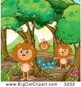 Big Cat Cartoon Vector Clipart of a Male Lions Playing in the Forest by Graphics RF