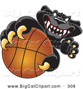 Big Cat Cartoon Vector Clipart of a Mean Black Jaguar Mascot Character Grabbing a Basketball by Toons4Biz