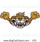 Big Cat Cartoon Vector Clipart of a Mean Cheetah, Jaguar or Leopard Character School Mascot Lurching Forward by Toons4Biz