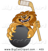 Big Cat Cartoon Vector Clipart of a Mean Lion Character Mascot Grabbing a Hockey Puck by Toons4Biz