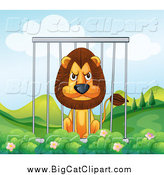 Big Cat Cartoon Vector Clipart of a Mean Lion in a Cage by Graphics RF