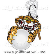 Big Cat Cartoon Vector Clipart of a Mean Looking Cheetah, Jaguar or Leopard Character School Mascot Playing Lacrosse by Toons4Biz
