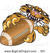 Big Cat Cartoon Vector Clipart of a Mean Tiger Character School Mascot Grabbing a Football by Toons4Biz