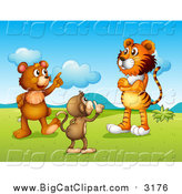 Big Cat Cartoon Vector Clipart of a Monkey Shushing a Tiger and Bear in a Valley by Graphics RF
