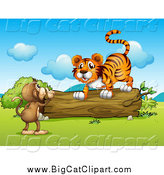 Big Cat Cartoon Vector Clipart of a Monkey Talking to a Tiger at a Log by Graphics RF