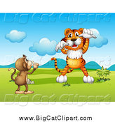 Big Cat Cartoon Vector Clipart of a Monkey Trying to Silence a Tiger by Graphics RF
