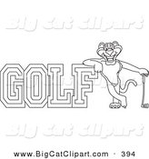 Big Cat Cartoon Vector Clipart of a Outline of a Panther Character Mascot with Golf Text by Toons4Biz