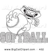 Big Cat Cartoon Vector Clipart of a Outline of a Rough Panther Character Mascot with Softball Text by Toons4Biz