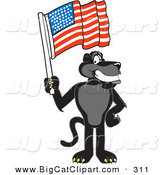 Big Cat Cartoon Vector Clipart of a Patriotic Black Jaguar Mascot Character Waving an American Flag by Toons4Biz