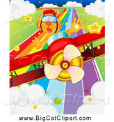 Big Cat Cartoon Vector Clipart of a Pilot Tiger in a Red Biplane over a Rainbow Road by Graphics RF