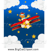 Big Cat Cartoon Vector Clipart of a Pilot Tiger over a Night Sky by Graphics RF