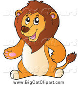 Big Cat Cartoon Vector Clipart of a Presenting Lion by Visekart