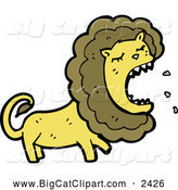 Big Cat Cartoon Vector Clipart of a Roaring Angry Male Lion by Lineartestpilot