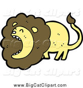 Big Cat Cartoon Vector Clipart of a Roaring Brown and Yellow Male Lion by Lineartestpilot