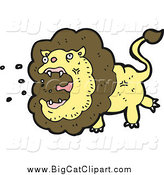 Big Cat Cartoon Vector Clipart of a Roaring Lion by Lineartestpilot