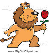 Big Cat Cartoon Vector Clipart of a Romantic Lion Holding out a Red Rose by Cory Thoman