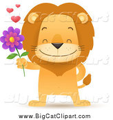 Big Cat Cartoon Vector Clipart of a Romantic Male Lion Holding out a Flower by Qiun