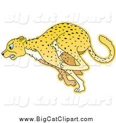 Big Cat Cartoon Vector Clipart of a Running Cheetah in Profile by Lal Perera