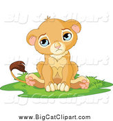 Big Cat Cartoon Vector Clipart of a Sad, Cute Little Lion Cub by Pushkin