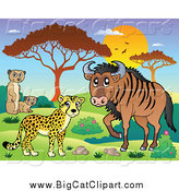 Big Cat Cartoon Vector Clipart of a Safari Cheetah Meerkat and Wildebeest Savannah Animals at Sunset by Visekart