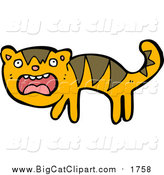 Big Cat Cartoon Vector Clipart of a Scared Tiger by Lineartestpilot