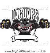 Big Cat Cartoon Vector Clipart of a Scary Black Jaguar Mascot Character Leaping Logo by Toons4Biz